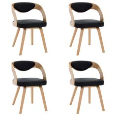 Bent Wood, Fabric Dining Chairs, Modern, Contemporary, Kitchen Chairs, Black Faux Leather, Timeless Design, Wooden Frames, Cleaning Wipes