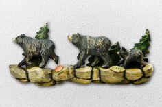 Walking Bear Family Hand-Carved Wooden Wallhanging - American Expedition