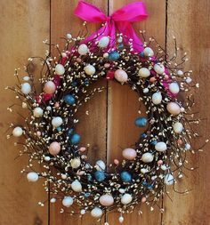 Spring Wreath-Easter Wreath-Front Door Wreath-Easter Decor-Spring Decor-PINK EGG Berry Door Wreath-Rustic Primitive Country Home Decor. $69.00, via Etsy.
