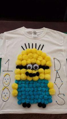 100 pom pom minion t-shirt I made for the 100th day of school.
