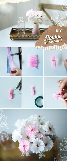 DIY - Fleurs en crépon • Saddy (Chocodisco) Diy Fleur, Diy Art, Place Cards, Creations, Arts And Crafts, Place Card Holders, Handmade, Inspiration, Parents