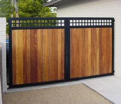Wrought Iron Gates With Wood Inserts Steel Gate Home Sweet Fence Driveway And Near Me Metal Infill Chic Wro Front Gate Design, Main Gate Design, Door Gate Design, House Gate Design, Steel Gate Design, Metal Gates, Wooden Gates, Metal Fence, Iron Gates