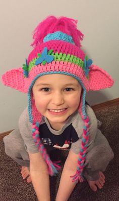 Crochet Poppy Troll Inspired Hat by Hooklineandhats on Etsy