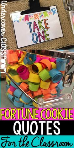FREE fortune cookie quote strips. Spread some positivity! Just print, cut, and coil them on a pencil. Put them in a clear container in your classroom, faculty room, office, or home!