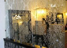 carved-glass-dividers-0042 Glass Room Divider, Living Room Mirrors, Dividers, Glass Design, Carving, Furniture, Home Decor, Decoration Home, Room Decor