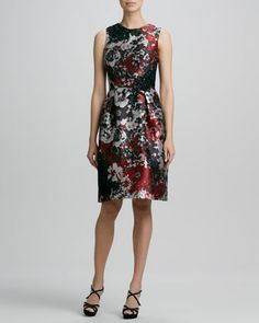 Printed Embroidered Cocktail Dress  by David Meister Signature at Bergdorf Goodman.