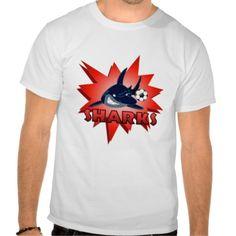 Sharks Soccer Red T Shirts #sports #tshirt