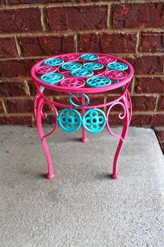 Pink Plant Stand/ Turquoise Accent/ Patio Decor/ Bright Blue Circles /Ornate Painted Iron Table/ Colorful Metal Chic Decorative Furniture. $32.99, via Etsy.