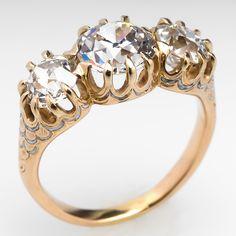 Antique Victorian Old Diamond Three Stone Ring 18K Gold Circa 1900's