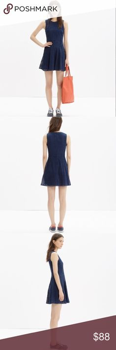 Madewell eyelet sunshade dress in navy Brilliantly structured, light-as-air eyelet lace on simple but special dress; one you can reach for over and over again. Genius with ankle boots, sneakers, flats or heels. True to size, waisted. Cotton, Bengali indigo. Worn once to wedding. Like-new condition. Madewell Dresses Mini