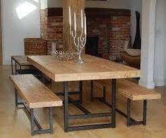 mesa comedor madera hierro. sillón hamaca estante escalera