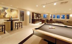 1ST TIER INTERIOR: Game Room Pool Table and Floor Style