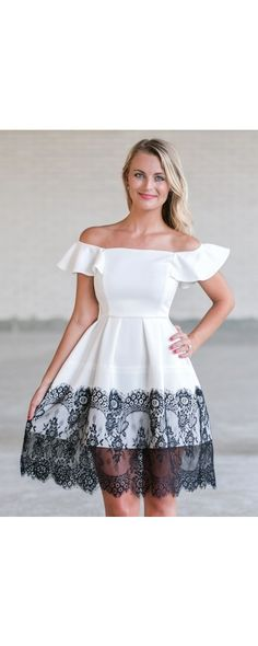 This black and white lace trim party dress has a cute A-line cut. Pair it with black shoes and accessories for an unforgettable style! Lace Party Dresses, Cute Summer Dresses, Formal Dresses, Wedding Weekend, Piece Of Cakes, White Lace, Lace Trim, Beautiful Dresses, Fashion Dresses