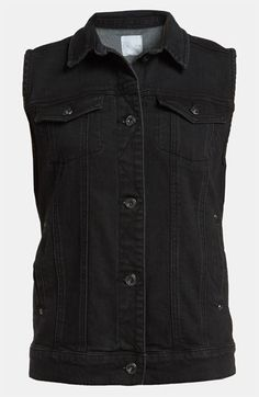 Leith Sleeveless Denim Jacket available at #Nordstrom