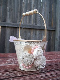 Pink and Ivory Flower Girl Baskets, Shabby Chic Wedding, Victorian Style, Steam Punk Flower Girl Basket, Lace and Roses Flower Girl Basket. $29.00, via Etsy.