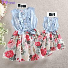 0102864d Denim Floral Printed Dress for Mom and Girls. International shipping # popreal Mommy And Me