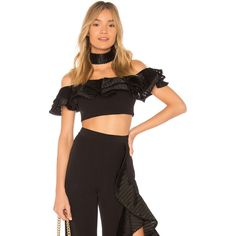 X by NBD x REVOLVE Sylvie Top ($190) ❤ liked on Polyvore featuring tops, fashion tops, beaded top, off-shoulder ruffle tops, flounce top, off the shoulder flounce top and off the shoulder tops