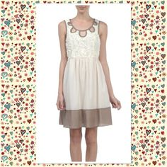 FALL TRANSITION DRESS - SMALL Simple but beautiful.....A Creme Lacy bodice flows to a smooth full skirt with a Dusty Rose bottom. Appliqué on bodice has strategic cutouts to emphasize your shoulders and breast.  Available in S-M-L.  S (2-4) M (6-8) L (10). This listing is for a size SMALL. A'reve Dresses