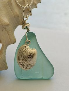 Turquoise+and+Shell+Sea+Glass+Pendant,+$35.00