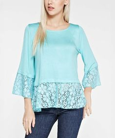 Seafoam Lace-Accent Bell-Sleeve Top - Plus