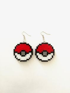 Pokemon Ball Perler Bead Earrings - Perler Bead, Mini Perler Bead, Pokemon Ball, Pokemon, Pixel Jewelry, 8-bit, Perler Bead Earrings, Pixel by CarafirasCreations on Etsy