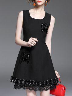 Shop Mini Dresses - Black Glitter-finished Square Neck Simple A-line Mini Dress online. Discover unique designers fashion at StyleWe.com.