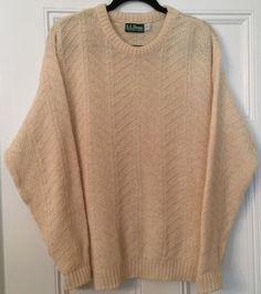 LL Bean Crewneck White Sweater Women's Large Wool Blend Pullover Made in USA #LLBean #Crewneck