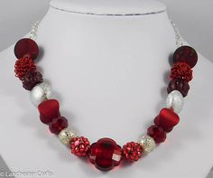Red and Silver Chunky Necklace with Large Red Beads Shamballa Crystal Beads, Glass Beads, Crystals, Red Rhinestone, Organza Gift Bags, Faceted Glass, Flower Shape, Metal Beads, Handmade Necklaces