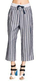 Linen Stripe Double Waistband Trouser