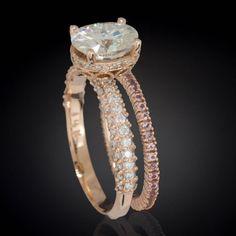 Idée et inspiration bague:   Image   Description   Moissanite Engagement Ring, Forever Brilliant Moissanite, Peach Sapphire Ring, Eternity Ring, Rose Gold Ring – LS3