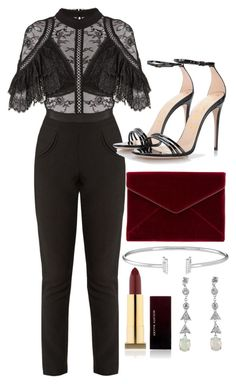 """""""Untitled #5164"""" by olivia-mr ❤ liked on Polyvore featuring self-portrait, Gucci, Rebecca Minkoff and Kevyn Aucoin"""