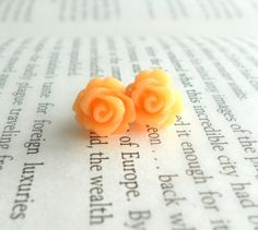 Pretty Post Earrings  Sugared Orange Rose by theblackstarboutique, $10.00