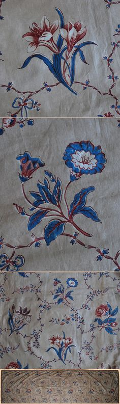 Antique Emroidered Look Fabric Circa 1880 French textile cretonne colorful cotton with blue chambray backing!!