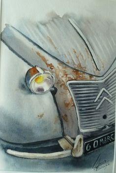 Galeries virtuelles aquarelles et acryliques - Anne Larose Vintage Cars, Vintage Photos, Citroen Hy, David Mann Art, Models Men, Caravan Decor, Auto Retro, Car Drawings, Car Painting