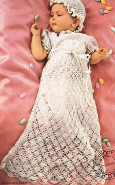 VCP317 baby christening dress vintage crochet pattern PDF instant download on Etsy, $1.91