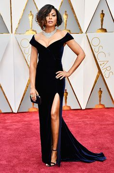 Taraji P. Henson wearing MINNY and carrying CLOUD to the 89th Annual Academy Awards in Los Angeles.