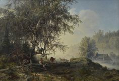 Autumn morning in Ringerik - Syysaamu Ringerikessä, 1859 Werner Holmberg (1830-1860)