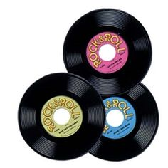 """/ Sock Hop / Grease Party Decoration Prop ~ NEW. Label has alternate """"song"""" printed on flip side. To reverse label, simply pop out of record, turn over and press outside. PLASTIC records are approx 50s Party Decorations, 50s Theme Parties, Dance Decorations, Music Themed Parties, 70s Party, Party Themes, Party Ideas, 60s Theme, Kids Disco Party"""