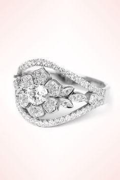 Lily garden unique diamond engagement ring