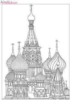 32 pages of Moscow sights for kids guide and colouring book. Colouring Pages, Adult Coloring Pages, Coloring Books, Landscape Drawings, Art Drawings, Architecture Drawing Art, Stippling Art, City Sketch, St Basil's