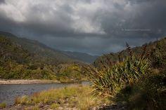 dramatic sky over Kohaihai river mouth, Kahurangi National Park