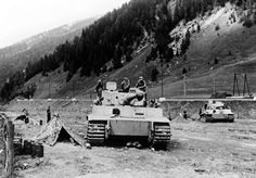 Two German Tiger tanks at the Brenner Pass in Italy, summer 1943