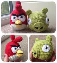 Ravelry: Angry Birds - Red Cardinal and Pig Angry Birds, Crochet Projects, Ravelry, Crochet Hats, Red, Pattern, Crafts, Amigurumi, Knitting Hats