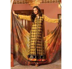 £59. Fully Stitched. Small, Medium and Large Sizes. I LUV Designer - Pure Chiffon Mustard 3 Piece Pakistani Stitched Suit by Strawberry - Latest Pakistani Fashion www.iluvdesigner.com