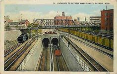 Detroit Michigan MI 1912 Michigan Central Railroad Detroit River Tunnel Postcard Detroit Michigan MI Circa 1912 Michigan Central Railroad's one and 3/8ths mile Detroit River Tunnel which was completed