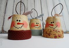 snowman ornaments, clay pot, snowman, ornament, country, shabby chic