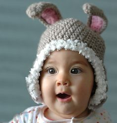 Bunny Earflap Winter Hat from newborn to 6 years old