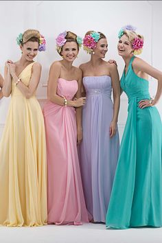 sherbet full length bridesmaids dresses. What is their hair. but I like the dresses :)