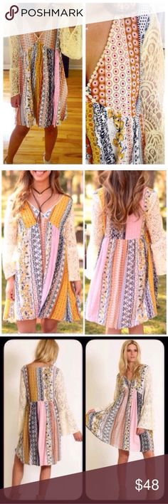 S-XXXL Boho Loose Flowy Summer Dress Patchwork Beautiful dress S M L. Runs on the bigger side so size down!!!. L can fit XL as well. Available in plus size too! XL, 1XL (really XXL FIT), and 2XL (really XXXL FIT). Again, if you are in between sizes, SIZE DOWN. Gorgeous for the spring and summer! Available in both orange combo and mustard combo. PLEASE NOTE: this is a patchwork dress, so as you can see the colors will be in different places on each dress as each dress is unique. I cannot…