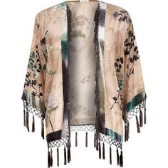 River Island Beige floral print fringed kimono and other apparel, accessories and trends. Browse and shop 8 related looks.